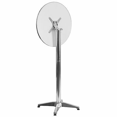 Flip Top Poseur Cocktail Table Stainless Steel 60cm x 105cm High