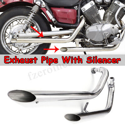For Yamaha Xv535 Xv 535 Virago Slash Cut Pipes Full Exhaust System + Silencers
