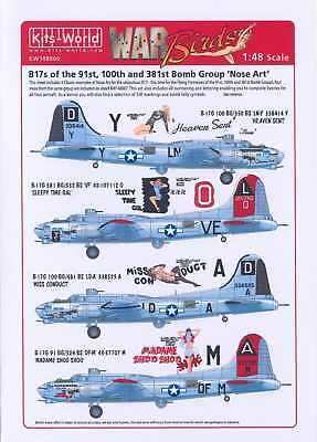 Kits World Decals 1//72 B-17 FLYING FORTRESS NOSE ART 91st 100th 381st Bomb Group