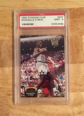 1992 Topps Stadium Club Shaquille ONeal Rookie Card Graded PSA 9 Mint Shaq