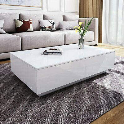 Modern White High Gloss Rectangle Coffee Tea Table Solid with 4 Storage Drawers