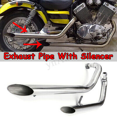 Muffler Cafe Racer Exhaust System Pipe + Silencer For Yamaha Virago XV 535 XV400