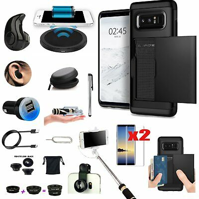 Case+Bluetooth Headset+Wireless Chager Accessory Black Kit For Samsung Galaxy S8
