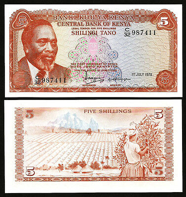 Kenya, 5 Shillings, 1978, UNC, 5 Pcs LOT, Consecutive, P-15