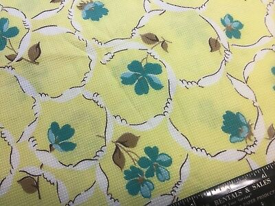 Vintage Cotton Dress Fabric 40s50s SWEET Turquoise Flowers on Yellow 35w 1yd