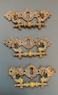 3 HEAVY Brass Eastlake Victorian Ornate Dresser Drawer Handles/Pulls w/Keyholes