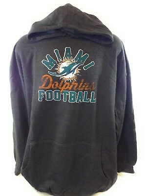 Wholesale NEW MENS NFL Majestic Miami Dolphins Charcoal Grey Screen Pullover  hot sale