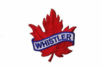 WHISTLER Red Maple Leaf Embroidered Iron on Patch Crest Badge ...Size :2.5 X 2.5
