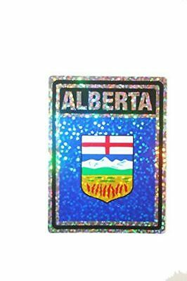 ALBERTA - Canada' Provincial Flag .. SQUARE Metallic Bumper Sticker Decal .. Siz