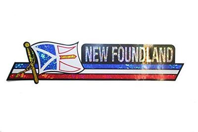 Canada Provincial Flag : New Foundland & Labrador LONG Metallic Bumper Sticker D