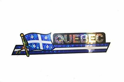 Canada Provincial Flag : Quebec LONG Metallic Bumper Sticker Decal .. Size : 30
