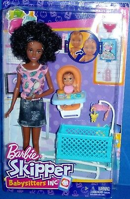 Barbie Skipper Babysitters Inc African American Doll With Crib & Baby Nrfb