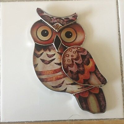 Stained Glass Picture HandCrafted Colored Owl Bird Suncatcher Glass Wall Window