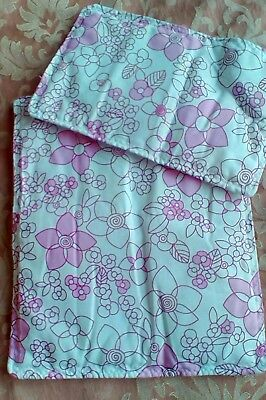 """Dolls Pram Cot Quilt Set 12"""" X10"""" White  With Pink Flowers, New"""