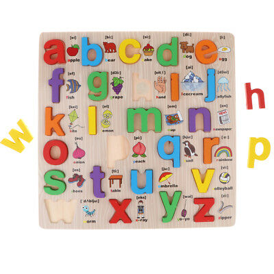 Wooden Letters abc Alphabet Animal Puzzle Pre-School Learning Jigsaw Toy