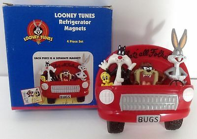 Looney Tunes Refrigerator Magnets 4 Pc Bugs Sylvester Taz Car 1997 New in Box