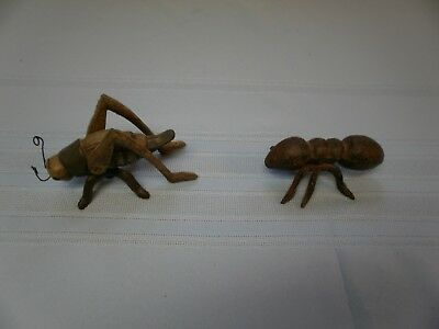 2 Cast Iron Garden Bugs GRASSHOPPER  CRICKET & ANT Flower Insects Plants Statue
