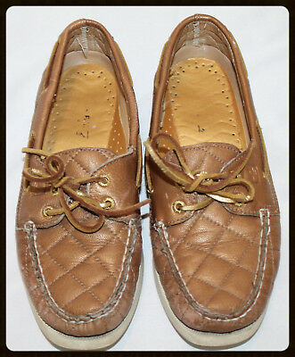 af97ea538d9d Sperry Top-Sider Womens Gold Cup Quilted Metallic Brown Boat Shoes Sz 7  Leather
