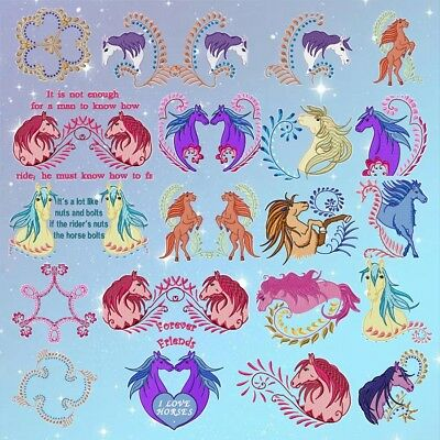 FANCY HORSES  20 MACHINE EMBROIDERY DESIGN CD 2 sizes included.