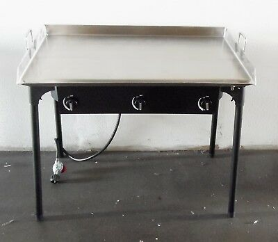 """HEAVY 36"""" x 22"""" Wide Stainless Steel Flat Top Griddle Grill Double Burner Stove"""