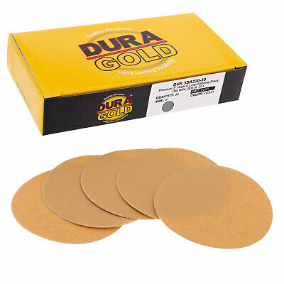 "220 Grit 3"" Gold Hook & Loop Sanding Discs DA Sanders - Box of 30 Sandpaper"