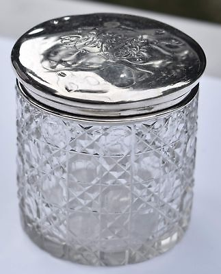 Vintage Sterling Lidded Hand Cut Crystal Dresser Jar - Broadway & Co. Birmingham