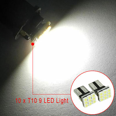 10PCS T10 LED White 9SMD Car License Plate Light Tail Bulbs 2825 192 194 168 W5W