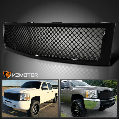 2007-2013 Chevy Silverado 1500 Glossy Black Front Hood Mesh Grill Grille