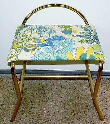 Vintage Brass Vanity Seat Chair Bench Blue Yellow Nautical Theme Flaired Legs