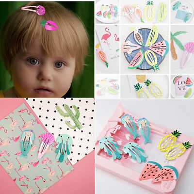 6Pcs//set Hair Clips Snaps Hairpin Girls Baby Kids Hair Bow Accessories Gift Cute