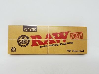 RAW Classic 98 Special Pre-Rolled Cones Roll Papers 20 Cones Per Pack Original