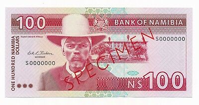 Namibia 100 Dollars $100 ND 1993 P. 3 /3s UNC Specimen Note