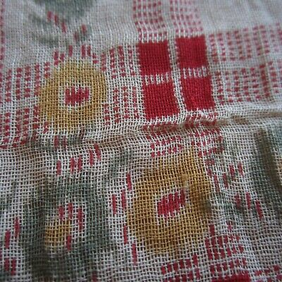 50cm x 91cm Red Yellow Green Warp Print Antique Cotton Fabric Gauzy Sheer