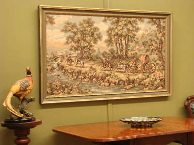 French Style Tapestry Picture #4 ~Gilt Detail Frame,Period Scene, Suit Antiques