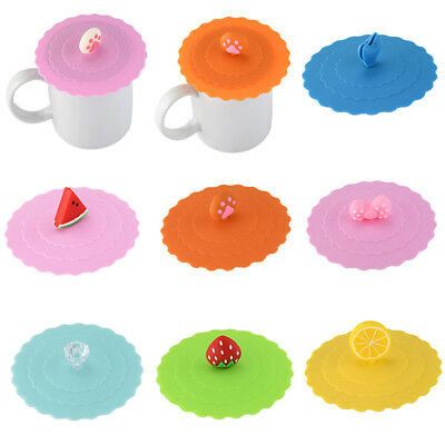 1pc Cute Glass Cup Cover Silicone Cup Cover Coffee Mug Suction Seal Lid Cap