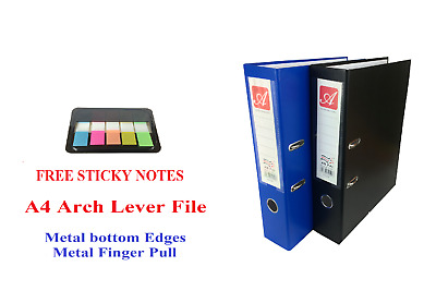 A4 Lever Arch File Folder Ring Binder High Quality Files & Free Sticky Notes