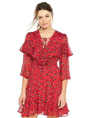 V by Very Animal Lace Up Sheered Dress