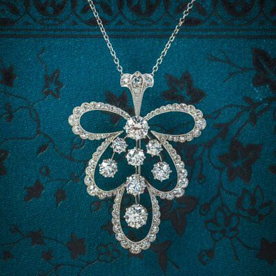 Diamond Pendant Necklace Platinum Brooch 4cts of Diamond