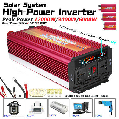 6000W/9000W/12000W Solar Power Inverter 12/24V to 110/220V Sine Wave Converter