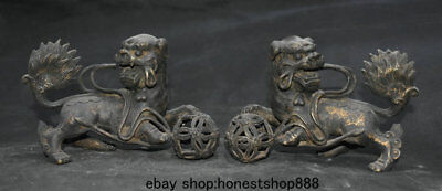 "6.4"" Old China Purple Bronze Gilt Feng Shui Foo Dog Lion Ball Lucky Statue Pair"