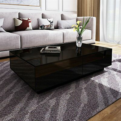 Modern Black High Gloss Rectangle Coffee Tea Table Solid with 4 Storage Drawers