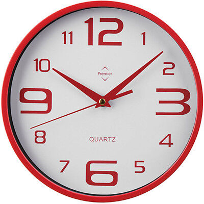 Red & White - New - Retro Round Wall Clock Big Numbers Kitchen Office Home Salon