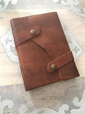 Pratesi Florence Mahogany Brown Cognac Leather Travel Notebook Journal Book