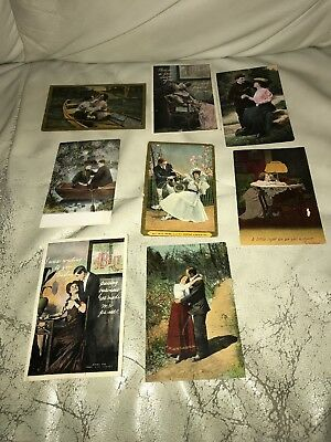 LOT OF 8 EARLY 1900S ANTIQUE VTG ROMANTIC LOVE LETTERS POSTCARDS  1 cent stamps