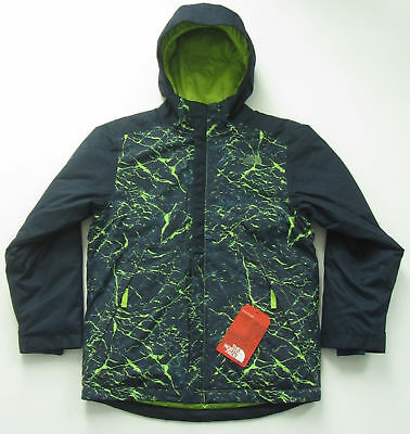 016086fc6 New North Face Boy Brayden Insulated Ski Jacket Waterproof M Med 10 12 Navy  Lime