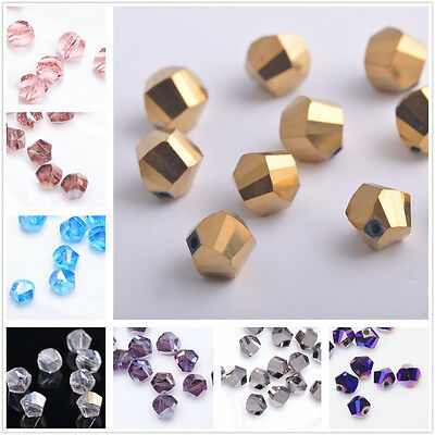 100pcs Faceted Glass Crystal Charm Finding Helix/Twist Loose Spacer Beads 6mm