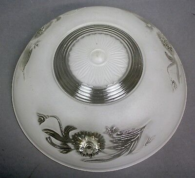 "Antique Victorian 10"" Diameter 3-Chain CEILING LAMP SHADE COVER FROSTED FLORAL"