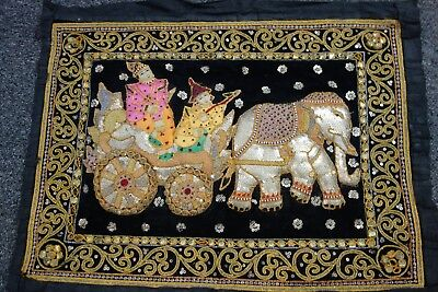 Old Kalaga Tapestry-Burma-19x24- Elephant/Nobles- Black w/Sequins,Beads- SALE