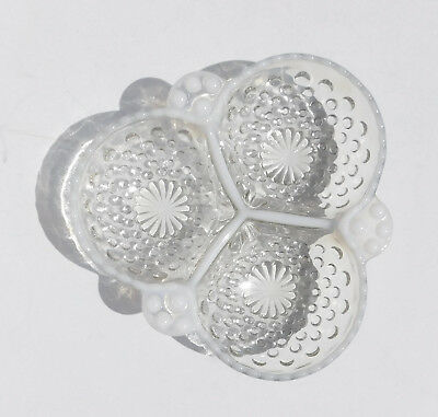 Vitg Milk Glass & Clear Hobnail Three-Part Divided Candy Dish Condiment Server