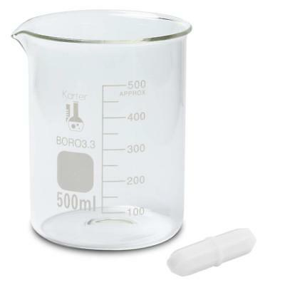 500ml Beakers w/ 1 Magnetic Stir Bar, Low Form Griffin, 3.3 Boro Glass, (6 pack)